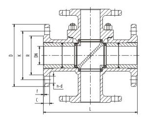 电动四通球阀结构图